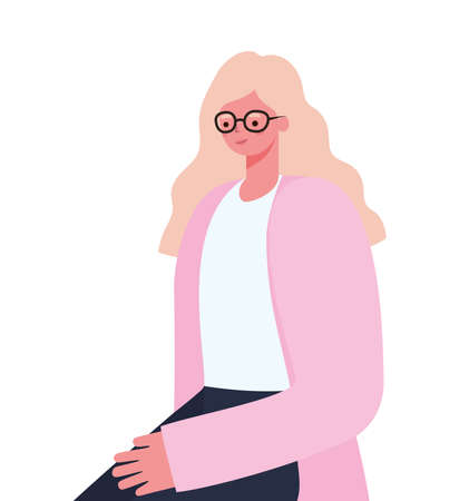 blond woman cartoon with glasses design, Girl female person people human and social media theme Vector illustration