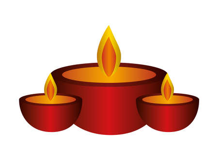red candles icons design, Fire flame candlelight light spirituality burn and decoration theme Vector illustration