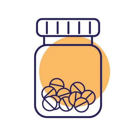 Pills jar line style icon design of Medical care health and emergency theme Vector illustration