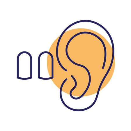 ear and sleeping plugs line style icon design, insomnia sleep and night theme Vector illustration 版權商用圖片 - 156009542