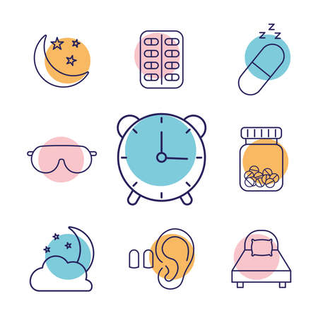 insomnia line style icon set design, sleep and night theme Vector illustration