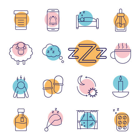 insomnia line style icons collection design, sleep and night theme Vector illustration 版權商用圖片 - 156013143