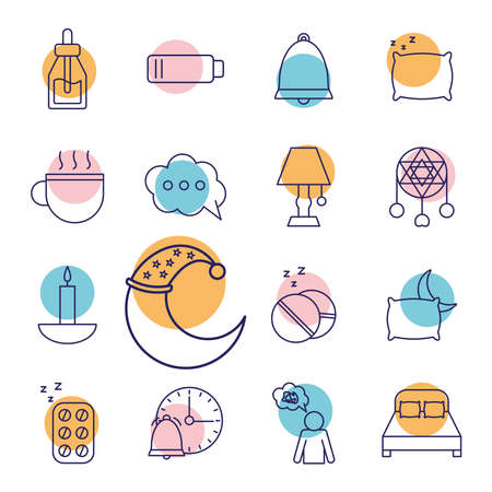 insomnia line style collection of icons design, sleep and night theme Vector illustration