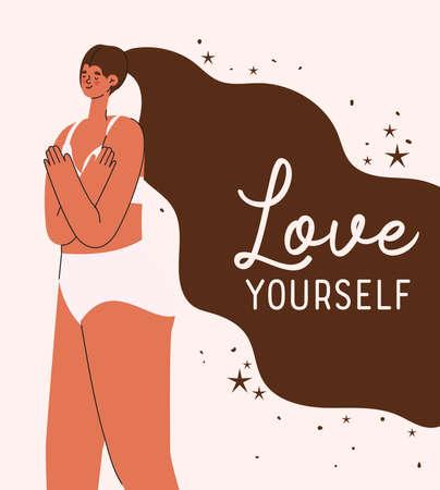 love yourself plus size woman cartoon in underwear design, self care theme Vector illustration