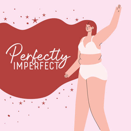 perfectly imperfect plus size woman cartoon in underwear with red hair design, Love and care yourself theme Vector illustration