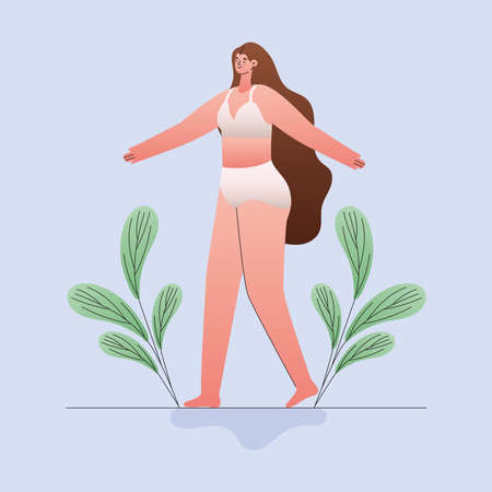 plus size woman cartoon in underwear with leaves design, Love and care yourself theme Vector illustration Ilustração