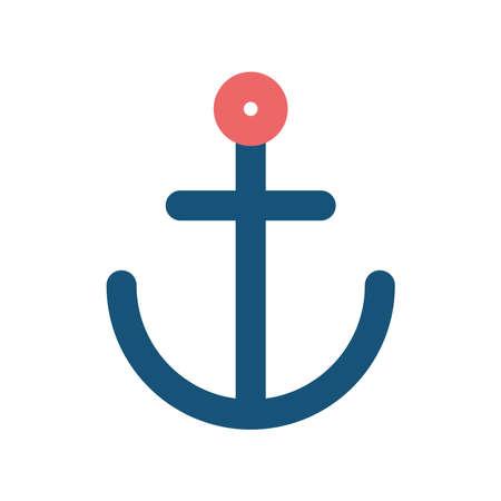 Anchor flat style icon design Sea nautical ocean navigation travel underwater water and marine theme Vector illustration Stock Illustratie