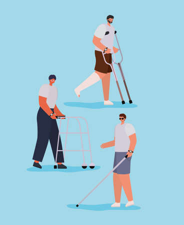 disability men cartoons with walker crutches cast and cane of Inclusion diversity and health care theme Vector illustration