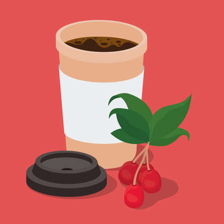 coffee mug with berries and leaves design of drink caffeine breakfast and beverage theme Vector illustration