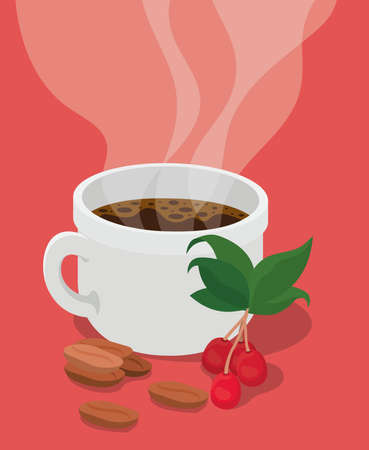coffee cup with berries leaves and beans design of drink caffeine breakfast and beverage theme Vector illustration