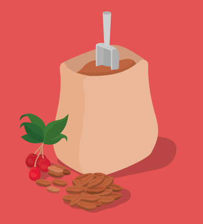 coffee beans bag berries and leaves design of drink caffeine breakfast and beverage theme Vector illustration  イラスト・ベクター素材