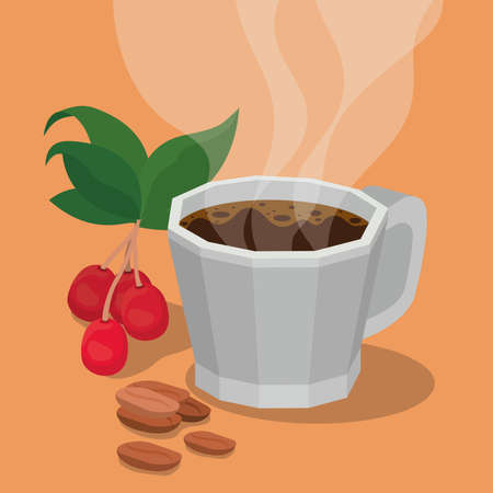coffee mug with berries leaves and beans design of drink caffeine breakfast and beverage theme Vector illustration