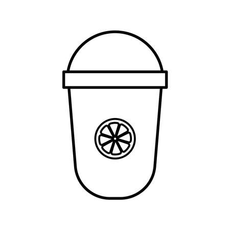 iced tea mug with lemon line style icon design, Time drink breakfast and beverage theme Vector illustration  イラスト・ベクター素材