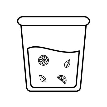 iced tea glass with lemons and leaves line style icon design, Time drink breakfast and beverage theme Vector illustration