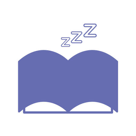 sleeping book line and fill style icon design, insomnia sleep and night theme Vector illustration