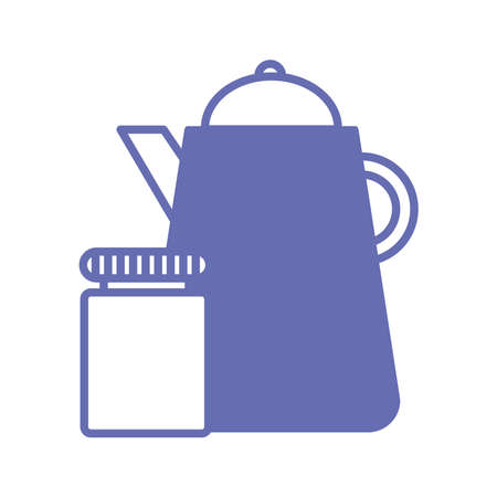 sleeping pills jar and coffee kettle line and fill style icon design, insomnia sleep and night theme Vector illustration
