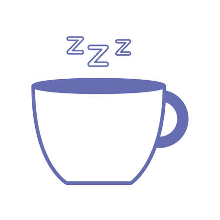sleeping coffee mug line and fill style icon design, insomnia sleep and night theme Vector illustration 向量圖像