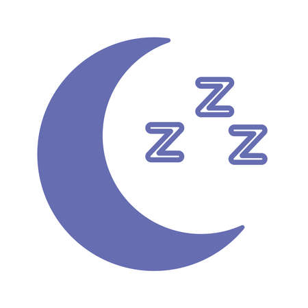 sleeping moon line and fill style icon design, insomnia sleep and night theme Vector illustration 向量圖像