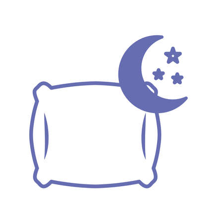 sleeping pillow with moon and stars line and fill style icon design, insomnia sleep and night theme Vector illustration