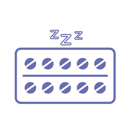 sleeping pills line and fill style icon design, insomnia sleep and night theme Vector illustration