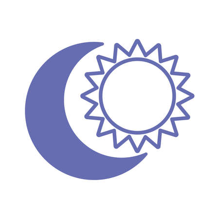 moon and sun line and fill style icon design, insomnia sleep and night theme Vector illustration