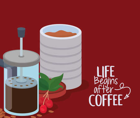 life begings after coffee french press jar beans berries and leaves design of drink caffeine breakfast and beverage theme Vector illustration  イラスト・ベクター素材