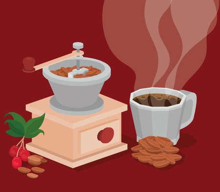 coffee grinder mug beans berries and leaves design of drink caffeine breakfast and beverage theme Vector illustration Vector Illustration