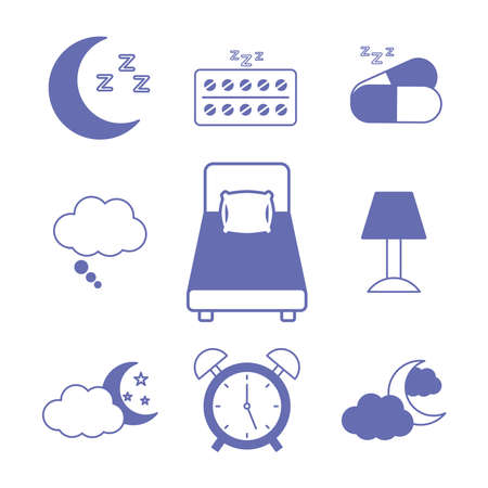insomnia line and fill style icon set design, sleep and night theme Vector illustration