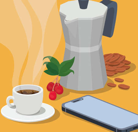 coffee moka pot cup smartphone beans berries and leaves design of drink caffeine breakfast and beverage theme Vector illustration