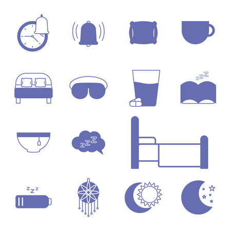 insomnia line and fill style set of icons design, sleep and night theme Vector illustration 向量圖像