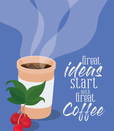 great ideas start with great coffee and mug design of drink caffeine breakfast and beverage theme Vector illustration
