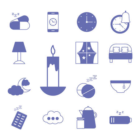 insomnia line and fill style set icons design, sleep and night theme Vector illustration