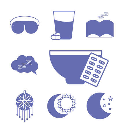 insomnia line and fill style collection of icons design, sleep and night theme Vector illustration