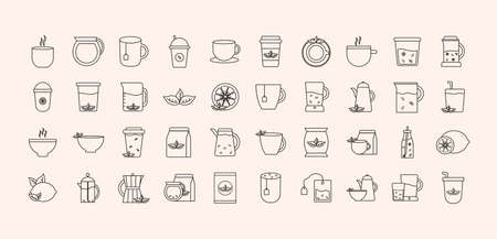 Tea line style icon collection design, Time drink breakfast and beverage theme Vector illustration