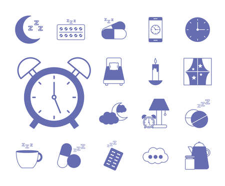 insomnia line and fill style icons collection design, sleep and night theme Vector illustration