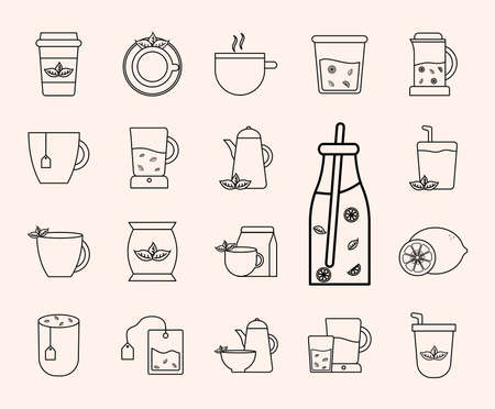 Tea line style set of icons design, Time drink breakfast and beverage theme Vector illustration