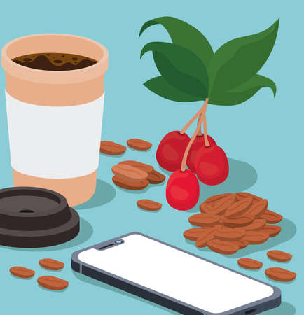 coffee mug smartphone beans berries and leaves design of drink caffeine breakfast and beverage theme Vector illustration  イラスト・ベクター素材