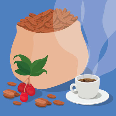 coffee beans bag cup berries and leaves design of drink caffeine breakfast and beverage theme Vector illustration  イラスト・ベクター素材