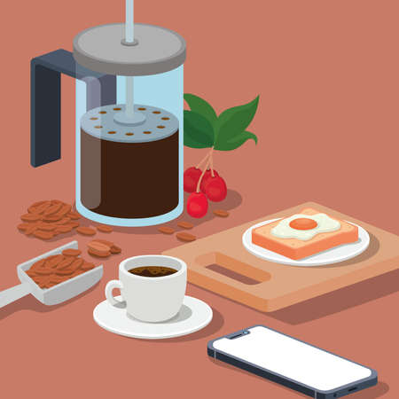 coffee french press cup smartphone egg beans berries and leaves design of drink caffeine breakfast and beverage theme Vector illustration