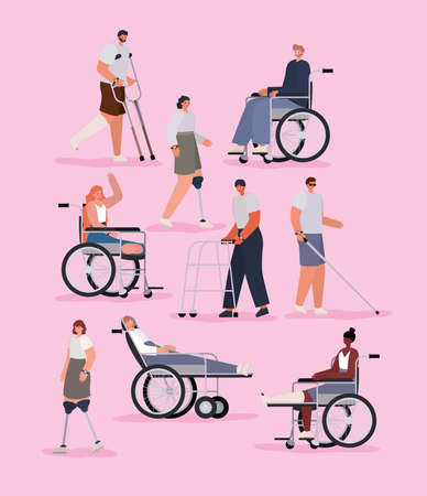 disability people cartoons with wheelchair prosthesis and cast on pink background of Inclusion diversity and health care theme Vector illustration