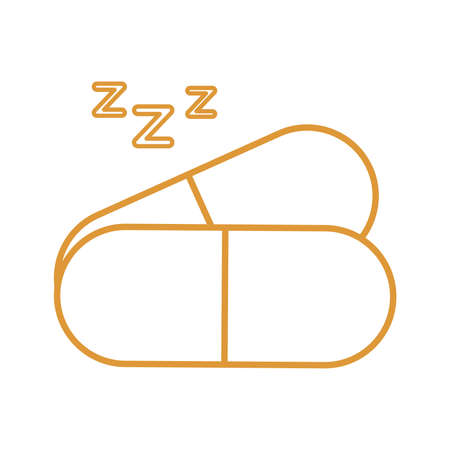 sleeping pills line style icon design, insomnia sleep and night theme Vector illustration  イラスト・ベクター素材