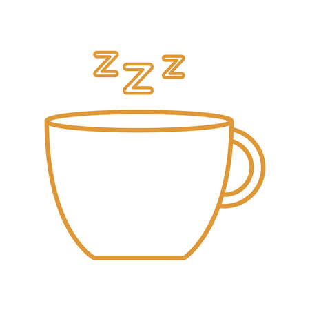 sleeping coffee mug line style icon design, insomnia sleep and night theme Vector illustration