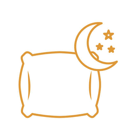 sleeping pillow with moon and stars line style icon design, insomnia sleep and night theme Vector illustration