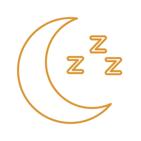 sleeping moon line style icon design, insomnia sleep and night theme Vector illustration