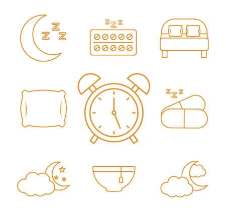 insomnia line style icon set design, sleep and night theme Vector illustration