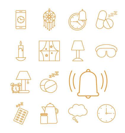 insomnia line style set icons design, sleep and night theme Vector illustration