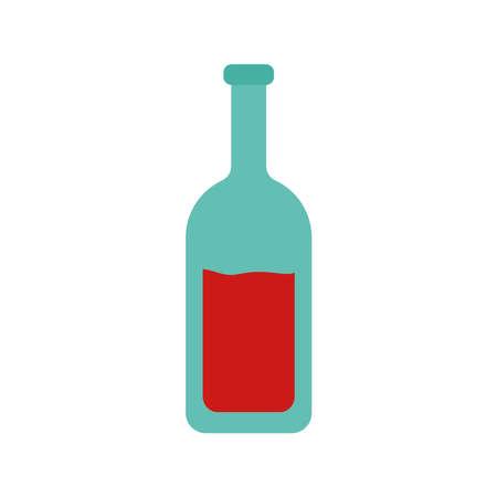Wine bottle flat style icon design, Winery alcohol drink beverage restaurant and celebration theme Vector illustration