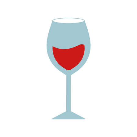 Wine cup flat style icon design, Winery alcohol drink beverage restaurant and celebration theme Vector illustration