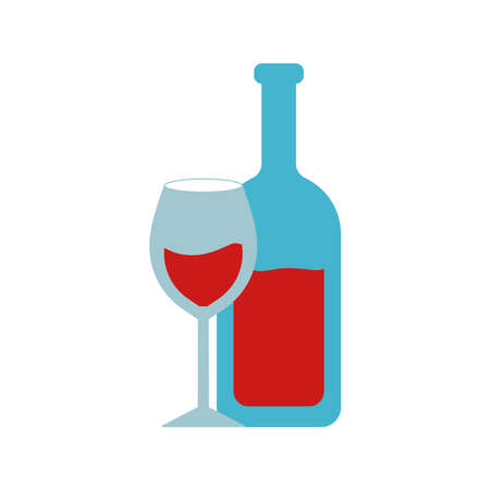 Wine bottle and cup flat style icon design, Winery alcohol drink beverage restaurant and celebration theme Vector illustration