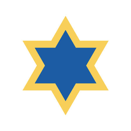Jewish star flat style icon design, Hanukkah holiday celebration judaism religion festival traditional and culture theme Vector illustration Vektoros illusztráció